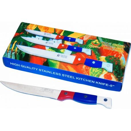 Нож кухонный цветная ручка 5-ка