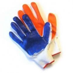 Перчатки стрейчевые с нитриловым покрытием: синие и оранжевые