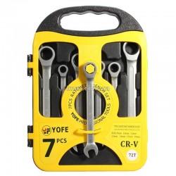Набор ключей рожково-накидных с трещоткой и шарниром, 7 шт (метрические)