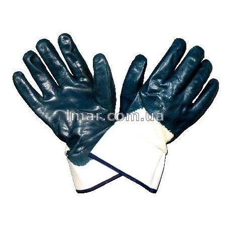 Рукавички нітрил сині з манжетом