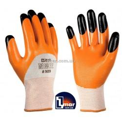 Перчатки рабочие стрейчевые покрытые двойным нитрилом