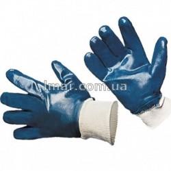 Рукавички нітрилові сині з гумкою
