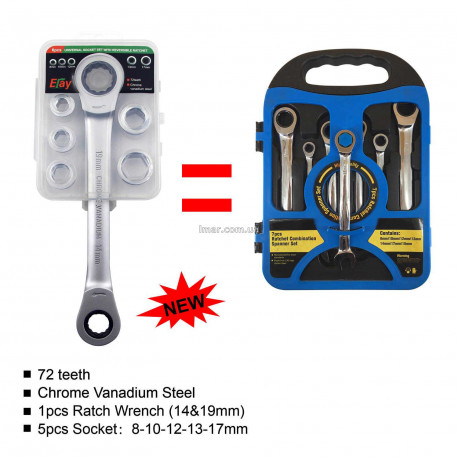 набор головок для механика 7 в 1 Комбинированный гаечный ключ с двусторонней трещоткой
