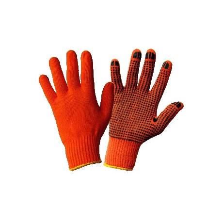 Рукавички в'язані з ПВХ крапкою хб помаранчеві