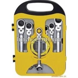 Набір ключів рожково-накидних з тріскачкою і шарніром, 7 шт (метричні)