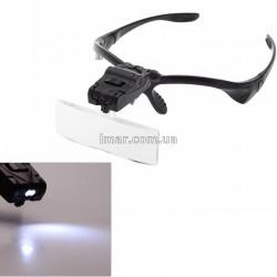 Лупа-очки бинокулярная c Led подсветкой 9892BP черная