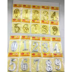 НОМЕРКИ С НАКЛЕЙКОЙ 20PC  0 до 9   золотой и серебристый цвет размер 3х5,5