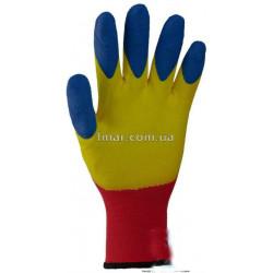 Рукавички робочі стрейчеві покриті силіконом з подвійним обливом на пальцях